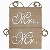Koker Mr and Mrs Burlap Banner Chair Signs...