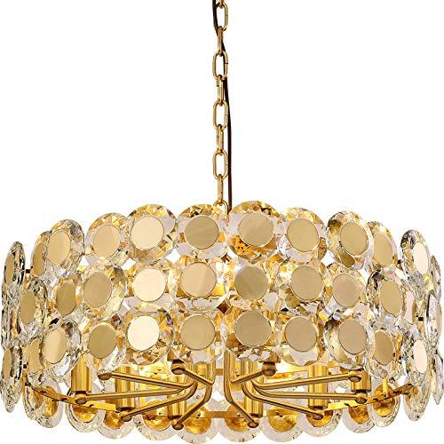 Lámpara de techo de lujo, ligera nórdica, cristal de salón simple de latón