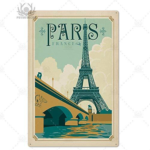 ivAZW Metal Poster Tin Sign Plaque Nostalgic-Art Paris Vintage Plaque Metal Vintage British Coffee Bar House Home Decorative 7.8X11.8Inch Th5492