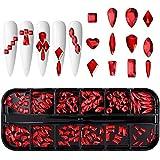 12 Grids Crystal AB Nail Rhinestones Kit, Red Shiny Nail Jewels, Multi Shapes Clear Nail Diamonds for Women DIY Nail Art Craft, Acrylic Nail Gems with Box