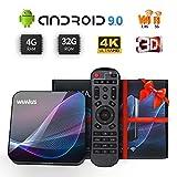 WiMiUS TV Box Android 9.0 4GB RAM 32GB ROM, Smart TV Box Dual WIFI 2.4/5G, 3D 4K Ultra HD, Bluetooth 4.0,...