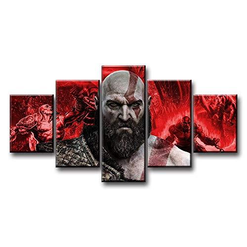 IILSZMT Hd Lienzo Decorativo 5 Panel Artística Lienzo Decorativo Cuadros God Of War Kratos Game Modulares Salón Decoración Para Hogar