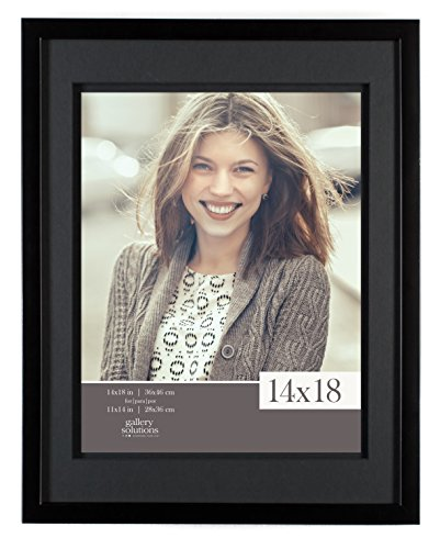Gallery Solutions 12FW1669E Wall Mount Double Airfloat Mat Picture Frame, 14' x 18', Black/Black
