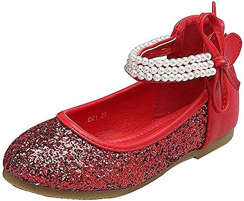 GUOCU Mädchen Prinzessin Schuhe Glitzer Paillette Ballerina Mit Perlen Riemchen Klettverschluss Festliche Mary Jane Halbschuhe Rot 32 EU