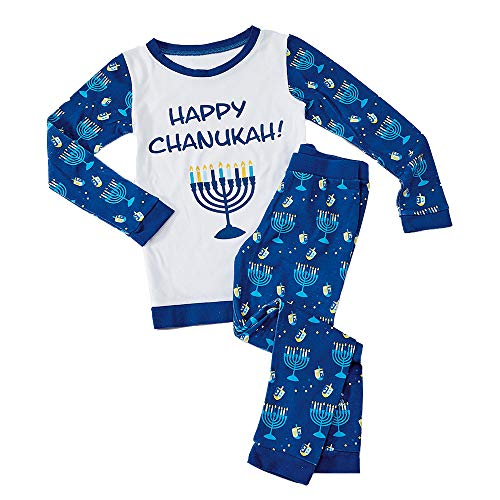 Rite Lite 8 Nights of Chanukah Pajamas With Menorah and Dreidel Illustrations - For Kids Size 6-8 Hanukkah (Small (6-8))