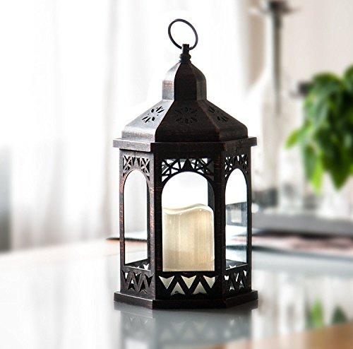 LED Laterne mit Fernbedienung,12 Farben einstellbar, 4 & 8 Std. Timer, 38 cm Höhe, Antik Design. Hängend oder stehend nutzbar, mit integrierter LED Kerze