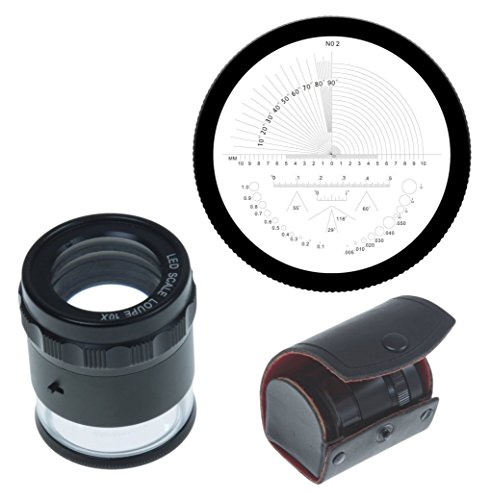 iGaging Stand Measuring Magnifier Loupe 10X w/Scale LED Lighted Illuminated