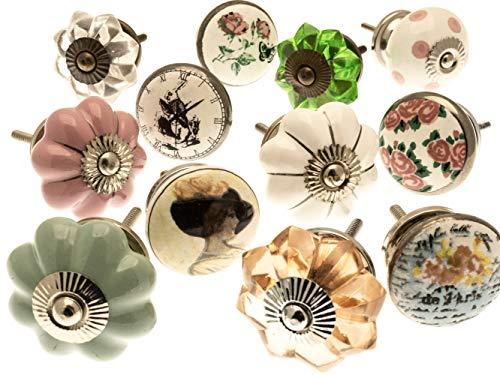 Vintage-Chic GEE-02 Lot de 12 boutons de tiroir en céramique