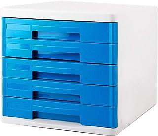 HongLianRiven Armoires de classement 5 tiroirs en Plastique de Bureau en Plastique Gris Bleu -26.7 * 33.7 * 24.5cm 12-30
