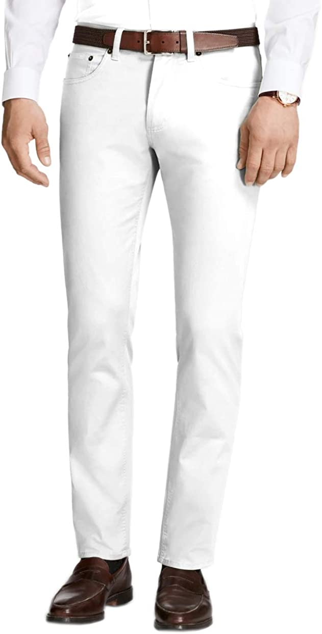 Brooks Brothers Mens Slim Fit 5 Pocket Twill Cotton Casual Pants Bright White