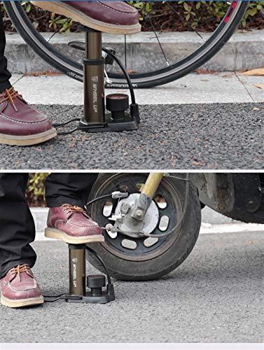 LTGABA Ciclismo portátil Bicicleta de montaña Bicicleta Mini Bomba de Aire Pedales de pie Presionando Neumático Inflador Manómetro Accesorios Ligeros (Color : Gold)