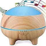 Música Difusor Aceites Esenciales 300ml Altavoz Bluetooth Aromaterapia Humidificador con Vapor Frío 15 Cambios de Color 4 Temporizador Auto-Apagado para Spa Yoga Hogar, Light Wood Grain