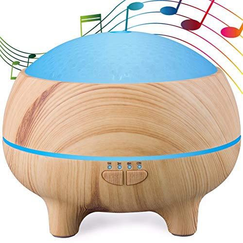 Musica Diffusore di Aromi 300ml Altoparlante Bluetooth Aromaterapia Umidificatore Diffusore Oli Essenziali con 15 Cambi di Colore 4 Impostazioni Timer Durata di Atomizzazione 8 Ore, Light Wood Grain