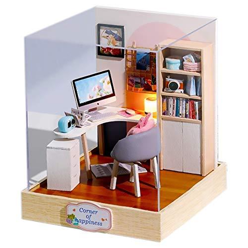 Jorzer Puppe, Spielzeug Aus Holz Hausmodell Puppenstuben Kit Miniatur-staubschutz Minidiy Buch Nook Für Kinder