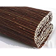 Abaseen Natural Willow Wood Garden Fence Covering, Rolled Mat, Outdoor Privacy Fence Screen (1.8m x 4m)