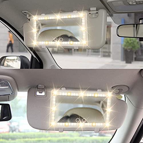 Espejo de Visera para Coche Victop Espejo de Maquillaje automático para Coche con Espejo de tocador de 60 Luces LED con Pantalla táctil Batería de litio incorporada sensor táctil, carga USB uhd
