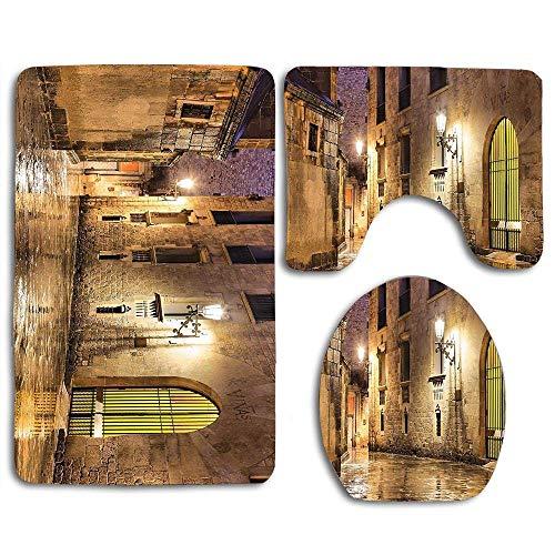 Alfombra de baño Barrio de piedra gótico de Barcelona España Calle renacimiento Noche de Herencia suave foto Mat antideslizante absorbente de asiento de inodoro cubierta Alfombra de baño cubierta de l