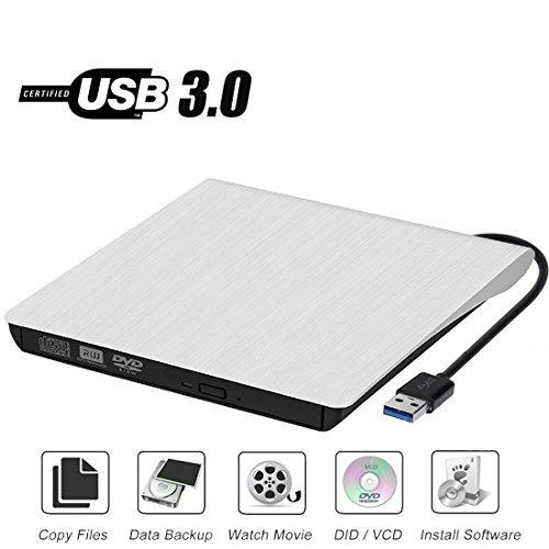 External CD Drive, Sibon USB 3.0 CD/DVD-RW Drive, Slim High Speed CD Player Burner for MacBook Air Pro/Air/iMac and Laptop Desktops Support Windows/Vista/7/8.1/10, Mac OSX (White)