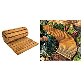 Plow & Hearth 52127 Weather-Resistant Straight Hardwood Pathway, 8' & 8 Roll Out Wooden Curved Garden Pathway, 4 feet, Natural Cedar