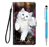 Grandoin für Samsung Galaxy A42 5G Hülle, Handyhülle im Brieftasche-Stil, Handytasche PU Leder Flip Cover Kreative Muster Book Hülle Magnet Hülle TPU Schutzhülle Lederhülle Hülle (Katze 2)