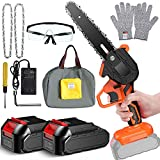 6 Inch Mini Hand Chainsaw Portable Electric Cordless 2000Mah Power Battery Chain Saws For Tree Trimming and Branch Wood Cutting Small Chainsaws (2 Batteries)