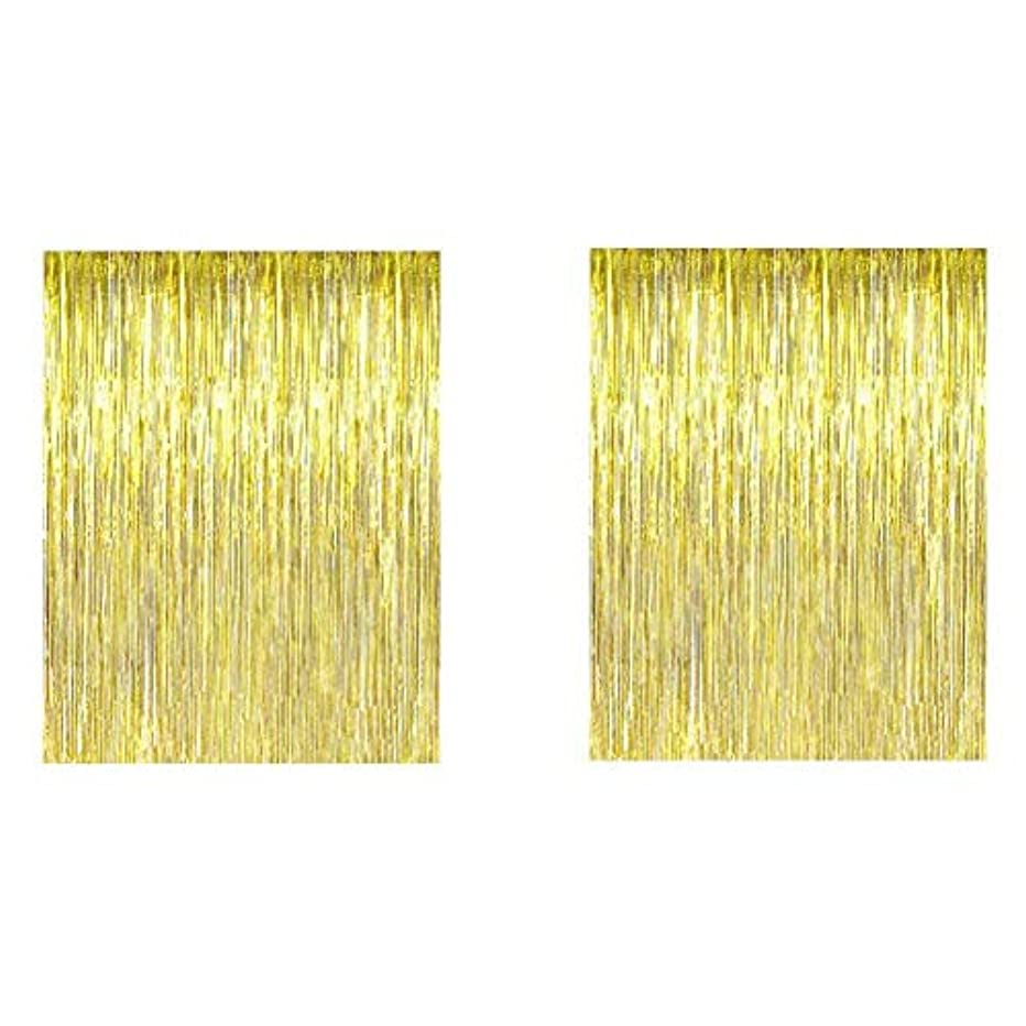 Alina Gold Metallic Tinsel Foil Fringe Curtains 3.2 ft x 9.8 ft, Decoration for Parties, Wedding, Photo Backdrop (Pack of 2)