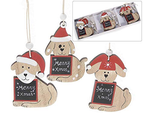 Gruppo Maruccia Palline per Albero di Natale a Forma di cagnolini in Legno Decorazioni Natalizie da Appendere 36 Pezzi