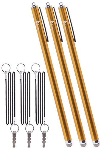 """Fenix - Set of 3 Gold XXL Extra Long Stylus Pen [7.3""""] with Micro Knit Hybrid Fiber Tip and Includes 15"""" Elastic Lanyard for iPhone 4,5,5c,6,6+ - iPad,iPad Air,iPad Mini, - Samsung Galaxy S4,S5,S6,Edge, Kindle Fire, Surface Pro and Much More"""