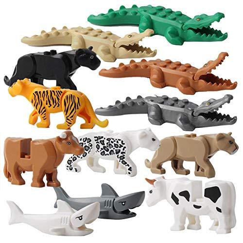 Hemistin 12 Stücke Tier Bausteine Kinder Tier Modellierung Spielzeug Krokodil Tiger Fisch Lernspielzeug