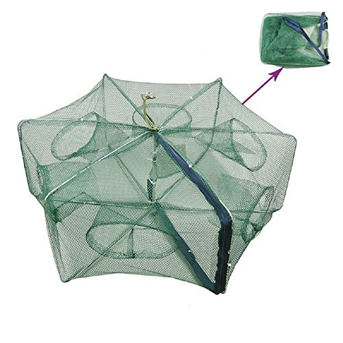 Portable Folded Fishing Net Fish Shrimp Minnow Crayfish Crab Baits Cast Mesh Trap Automatic, Easy Use Hexagon 6 Hole Cage Crab Fish Minnow Crawdad Shrimp (Foldable 3060cm)