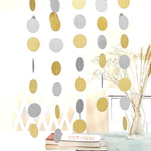 50 Feet Gold-Silver Paper Glitter Garland Circle Dots Decoration, 8.34 Feet Long*6 Birthday Wedding Celebration Glittery Paper Hanging for Party Decor(Circle Dots)