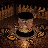 Outdoor Solar Hanging Lanterns, Garden Solar Table Lights with Handle, Retro Metal Butterfly Crack Decorative Hanging LED Lights for Patio Yard Tabletop Decor