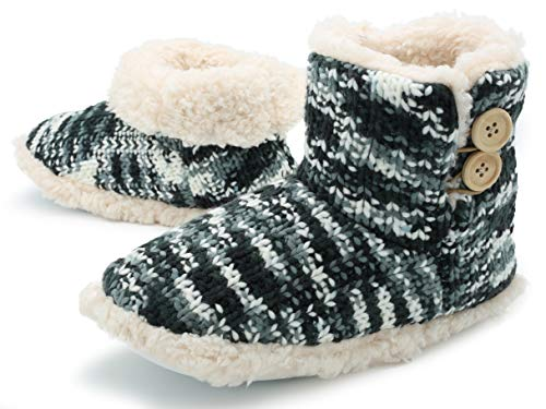 Zapatillas de Mujer con Perro Peluche Super Suave Zapatilla de Invierno Mujeres (38/39 EU, Punto Gris y Blanco)