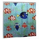 MAYUES Cortina de Ducha, resortes Creative Dory y Nemo All Smiles Set de Cortinas de baño con Ganchos