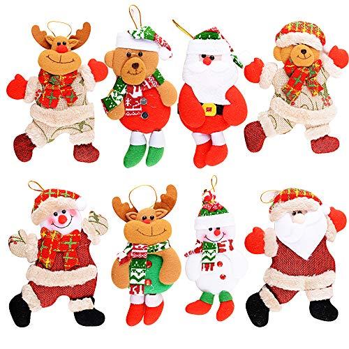 MEJOSER 8Piezas Adornos árbol Navidad Colgantes Muñecos Papá Noel Ornamentos de Navidad Decoración Fiesta Regalo Adornos Navideños Manualidades