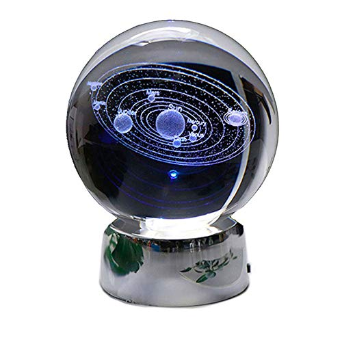 Jsona 3D zonnestelsel kristallen bal met LED-lamp basis, zonnestelsel Paperweight kosmische model met naam van de planeet voor thuis Decor creatief cadeau