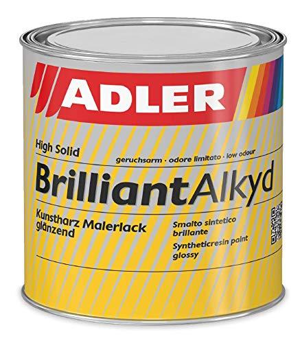 ADLER Brilliantalkyd - Weiß, RAL9001 Cremeweiß 125 ml - Kunstharzlack glänzend, Decklack für innen und außen, Wetterbeständigt, Bootslack, Yachtlack