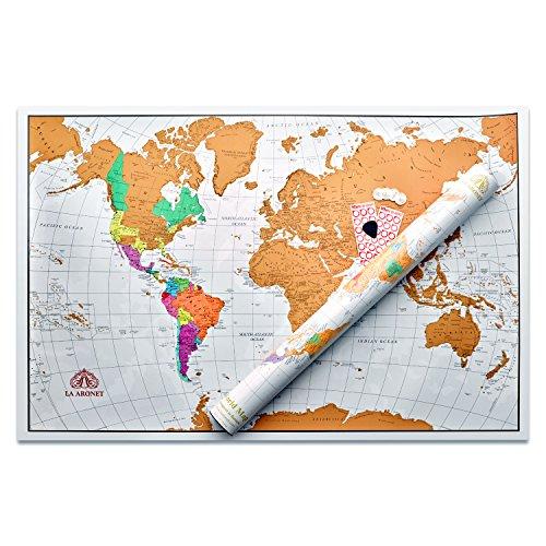 LA ARONET Scratch Off World Map