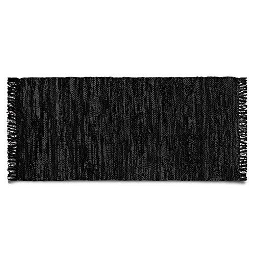 casa pura Lederteppich Windsor | handgewebter Teppich aus Recycling Leder | viele Größen | schwarz | 140x200 cm