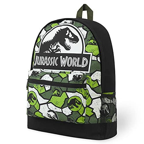 Jurassic World School Bag, Jurassic Park Kids Backpack with Camouflage Print, Indominus Rex Rucksack Backpack for School Travel, Dinosaur Gifts for Boys Girls Teens