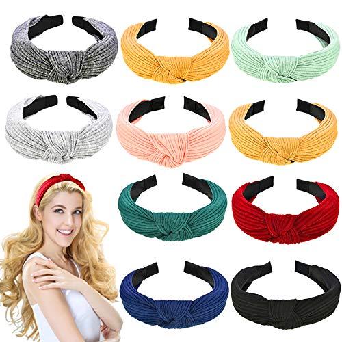 Damen Stirnbänder,10Pcs Haarreifen Knoten Stirnband,Vintage Haarband,Kopfband Turban Knoten Hairband Winter Stirnbänder für Mädchen für Make-up Haarband Hoop Set