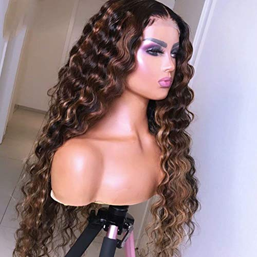 Quinlux Wigs 180% Density 1B/30 Color Blonde Highlight Wig HD Transparent Lace Wig Water Wave Ombre Colored 13x6 Lace Front Human Hair Wigs Glueless Brazilian Human Hair 18 Inch