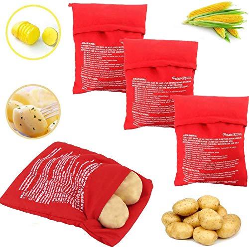 Wohlstand 4 Pcs Bolsa para Patatas en Microondas,microondas Olla Bolsa Bolsa de Papa - Papa, Patatas sólo en 4-6 Minutos Lavable Reutilizable Bolsa