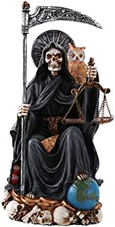 Pacific Giftware Santa Muerte Saint of Holy Death Seated Religious Statue 9 Inch Protection (Black)