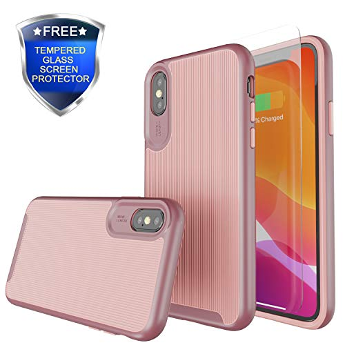 Rhidon for iPhone Xs Case,Slim Dual Layer Protection Case Bumper Textured Cover Hard PC Shell Shockproof TPU Anti-Scratch Cover Cases for iPhone Xs 5.8