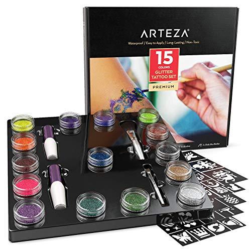 ARTEZA Glitter Tattoo Kit - Body Glitter Tattoo Set Includes 15 Vibrant Colors, 2 Brushes, 2 Glue Applicators and 40 Unique Glitter Tattoo Stencils - Glitter Temporary Tattoos For Kids And Adults