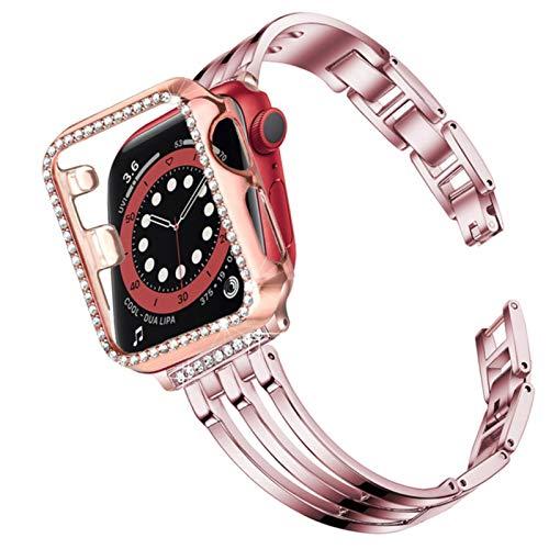 Estuche + correa para apple watch 6 se band series 5 4 44mm 40mm estuche Bling Jewelry Cubierta de marco de pulsera de acero inoxidable para iwatch