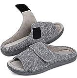 Snug Leaves Women's Memory Foam Open Toe Slide House Slippers with Adjustable Wrap (7-8 B(M) US, Light Gary)
