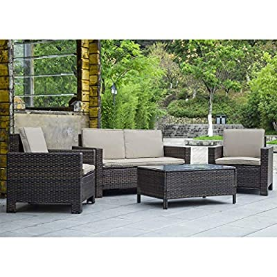 FDW Outdoor Patio Furniture Sets 4 Piece Patio Set Sectional Sofa Outdoor Rattan Chair Conversation Sets Cushions Seat Lawn Balcony Poolside or Backyard Wicker,Brown