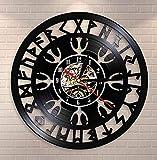 Reloj De Vinilo Colgante Reloj de Pared de la brújula vikinga nórdica misteriosa Talismán nórdico Yelmo de asombro Símbolo de protección Reloj de Registro de Vinilo 30cm